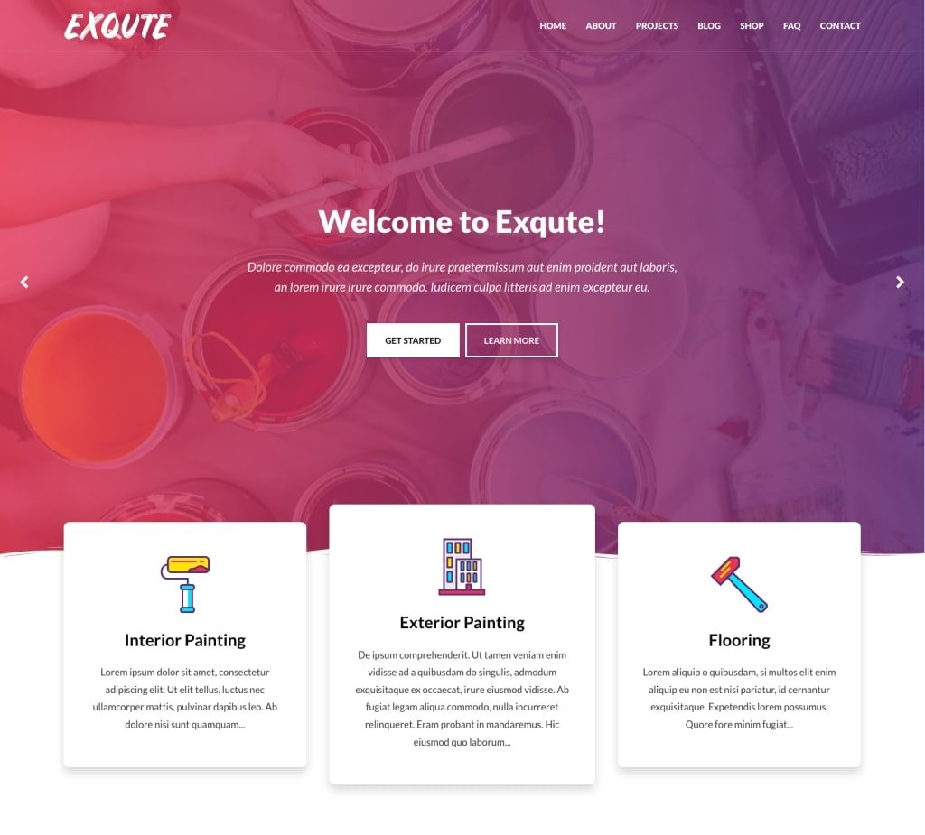 Exqute - WordPress Painting Company Theme