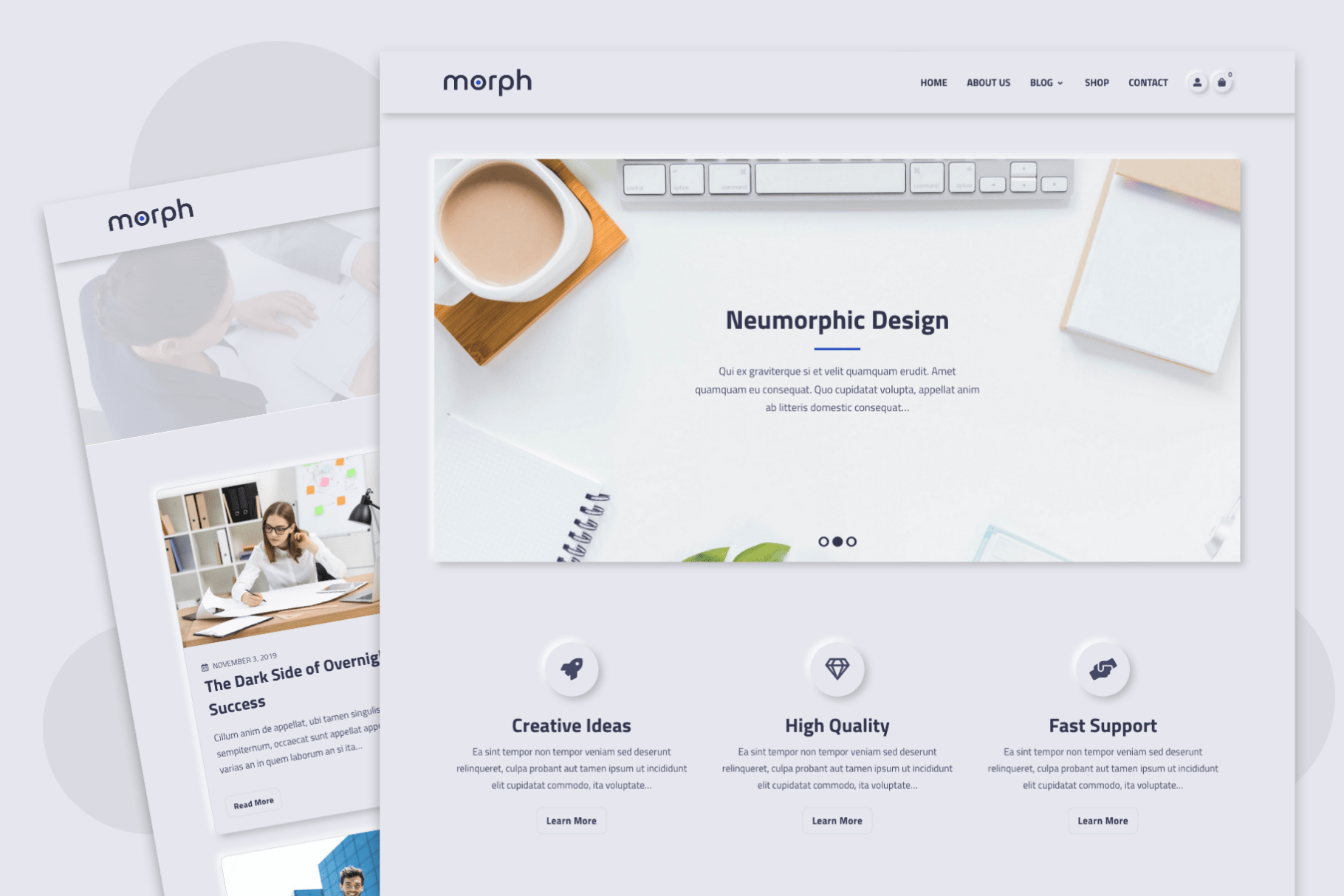 morph - Neumorphism Inspired WordPress Theme